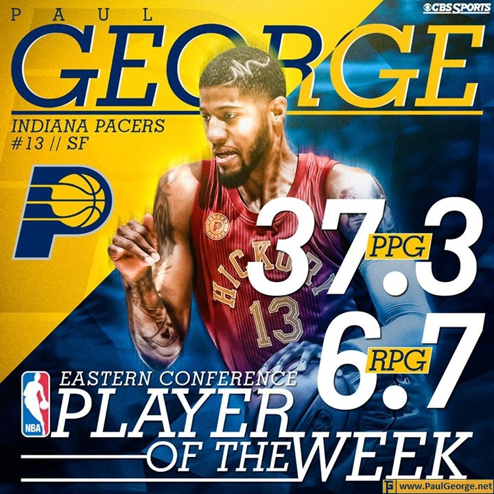 Paul George selected as Eastern Conference Player of the Week